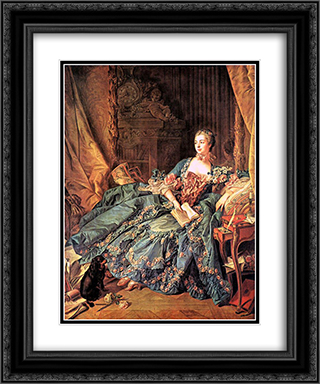The Marquise de Pompadour 20x24 Black or Gold Ornate Framed and Double Matted Art Print by Francois Boucher