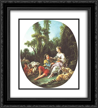 Are They Thinking About the Grape? 20x22 Black or Gold Ornate Framed and Double Matted Art Print by Francois Boucher