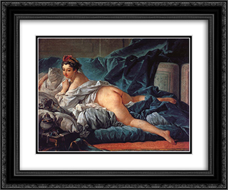 Brown Odalisk 24x20 Black or Gold Ornate Framed and Double Matted Art Print by Francois Boucher