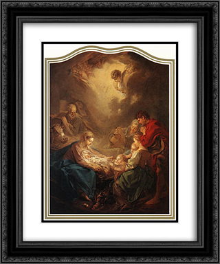 Adoration of the Shepherds 20x24 Black or Gold Ornate Framed and Double Matted Art Print by Francois Boucher