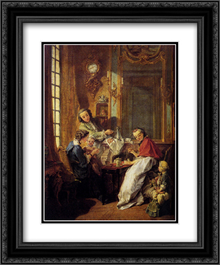 Morning Coffee 20x24 Black or Gold Ornate Framed and Double Matted Art Print by Francois Boucher