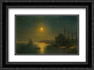 A Moonlit View of the Bosphorus 24x18 Black or Gold Ornate Framed and Double Matted Art Print by Ivan Aivazovsky