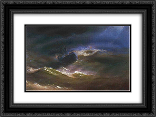 Maria in a Storm 24x18 Black or Gold Ornate Framed and Double Matted Art Print by Ivan Aivazovsky