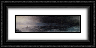 Battleship on a Stormy Sea 24x12 Black or Gold Ornate Framed and Double Matted Art Print by Ivan Aivazovsky
