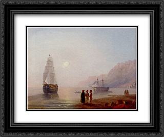 A Conversation On The Shore, Dusk 24x20 Black or Gold Ornate Framed and Double Matted Art Print by Ivan Aivazovsky