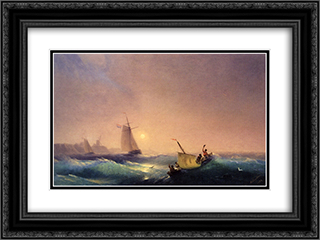 Shipping off The Dutch Coast 24x18 Black or Gold Ornate Framed and Double Matted Art Print by Ivan Aivazovsky