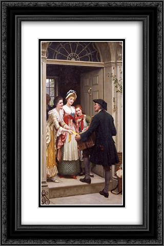 Ribbons and Laces for Very Pretty Faces 16x24 Black or Gold Ornate Framed and Double Matted Art Print by Edmund Blair Leighton
