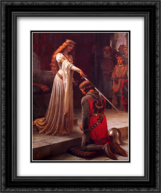 The Accolade 20x24 Black or Gold Ornate Framed and Double Matted Art Print by Edmund Blair Leighton