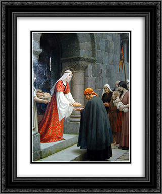 The Charity of St. Elizabeth of Hungary 20x24 Black or Gold Ornate Framed and Double Matted Art Print by Edmund Blair Leighton
