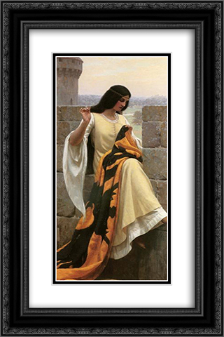 Stitching the Standard 16x24 Black or Gold Ornate Framed and Double Matted Art Print by Edmund Blair Leighton