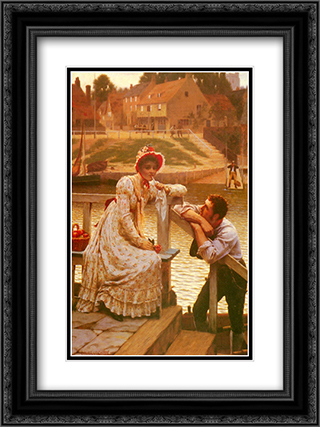 Courtship 18x24 Black or Gold Ornate Framed and Double Matted Art Print by Edmund Blair Leighton