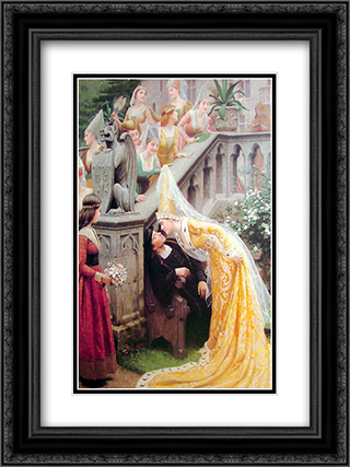 Alain Chartier 18x24 Black or Gold Ornate Framed and Double Matted Art Print by Edmund Blair Leighton