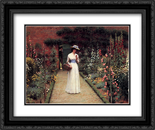 Lady in a Garden 24x20 Black or Gold Ornate Framed and Double Matted Art Print by Edmund Blair Leighton