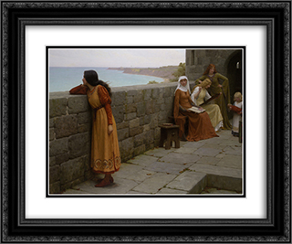 The Hostage 24x20 Black or Gold Ornate Framed and Double Matted Art Print by Edmund Blair Leighton