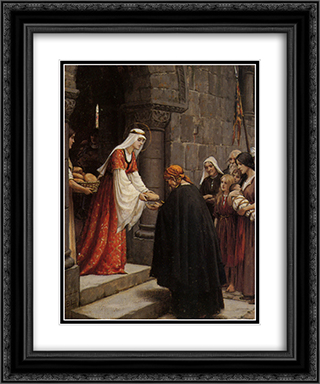 The Charity of Saint Elizabeth of Hungary 20x24 Black or Gold Ornate Framed and Double Matted Art Print by Edmund Blair Leighton
