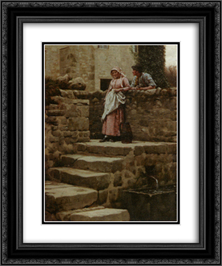 Sweethearts 20x24 Black or Gold Ornate Framed and Double Matted Art Print by Edmund Blair Leighton