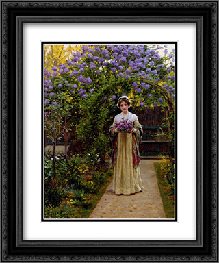 Lilac 20x24 Black or Gold Ornate Framed and Double Matted Art Print by Edmund Blair Leighton