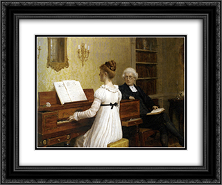 The Piano Lesson 24x20 Black or Gold Ornate Framed and Double Matted Art Print by Edmund Blair Leighton
