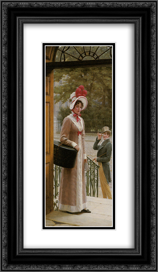 A Source of Admiration 14x24 Black or Gold Ornate Framed and Double Matted Art Print by Edmund Blair Leighton