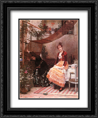 Why Comes He Not ? 20x24 Black or Gold Ornate Framed and Double Matted Art Print by Jehan Georges Vibert
