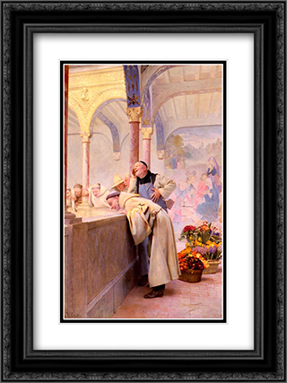 Un Scandale 18x24 Black or Gold Ornate Framed and Double Matted Art Print by Jehan Georges Vibert