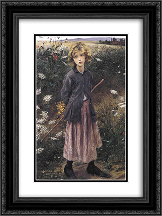 Young Girl 18x24 Black or Gold Ornate Framed and Double Matted Art Print by Jules Bastien Lepage