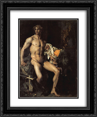 Achilles and Priam 20x24 Black or Gold Ornate Framed and Double Matted Art Print by Jules Bastien Lepage