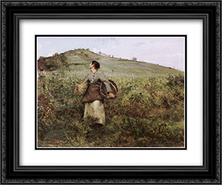 At Harvest Time 24x20 Black or Gold Ornate Framed and Double Matted Art Print by Jules Bastien Lepage