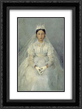 La Communiante 18x24 Black or Gold Ornate Framed and Double Matted Art Print by Jules Bastien Lepage