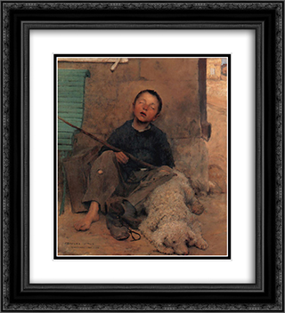 The Blind Beggar 20x22 Black or Gold Ornate Framed and Double Matted Art Print by Jules Bastien Lepage