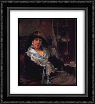Lady 20x22 Black or Gold Ornate Framed and Double Matted Art Print by Jules Bastien Lepage