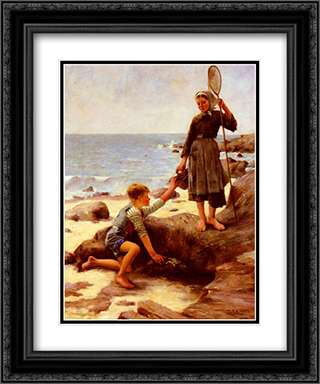 Les Enfants Pecheurs 20x24 Black or Gold Ornate Framed and Double Matted Art Print by Jules Bastien Lepage