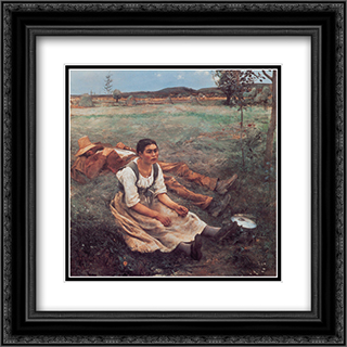 Les Foins 20x20 Black or Gold Ornate Framed and Double Matted Art Print by Jules Bastien Lepage
