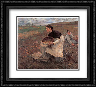 Saison d'Octobre: Recolte des pommes de terre 22x20 Black or Gold Ornate Framed and Double Matted Art Print by Jules Bastien Lepage
