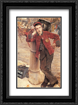The London Bootblack 18x24 Black or Gold Ornate Framed and Double Matted Art Print by Jules Bastien Lepage