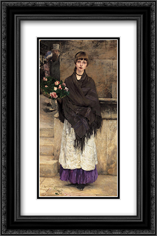 Marchande de Fleurs a Londre 16x24 Black or Gold Ornate Framed and Double Matted Art Print by Jules Bastien Lepage