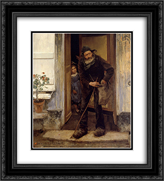 Le Mendiant 20x22 Black or Gold Ornate Framed and Double Matted Art Print by Jules Bastien Lepage
