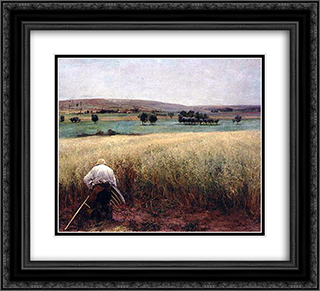 Les Bles murs 22x20 Black or Gold Ornate Framed and Double Matted Art Print by Jules Bastien Lepage