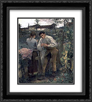 Rural Love 20x22 Black or Gold Ornate Framed and Double Matted Art Print by Jules Bastien Lepage