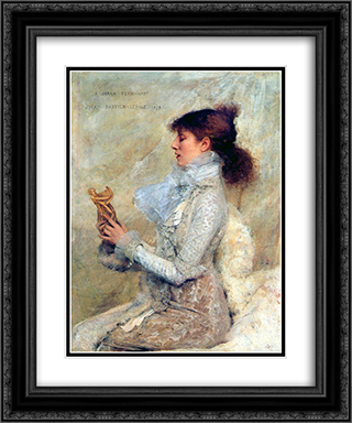 Portrait of Sarah Bernhardt 20x24 Black or Gold Ornate Framed and Double Matted Art Print by Jules Bastien Lepage
