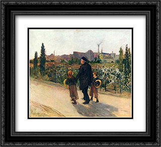 All Souls' Day 22x20 Black or Gold Ornate Framed and Double Matted Art Print by Jules Bastien Lepage