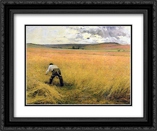 Les Bles murs 24x20 Black or Gold Ornate Framed and Double Matted Art Print by Jules Bastien Lepage