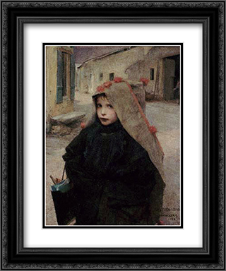 Going to School 20x24 Black or Gold Ornate Framed and Double Matted Art Print by Jules Bastien Lepage