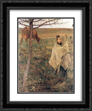 Pauvre Fauvette 20x24 Black or Gold Ornate Framed and Double Matted Art Print by Jules Bastien Lepage