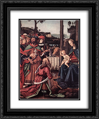 Adoration of the Kings (Epiphany) [detail: 1] 20x24 Black or Gold Ornate Framed and Double Matted Art Print by Pietro Perugino