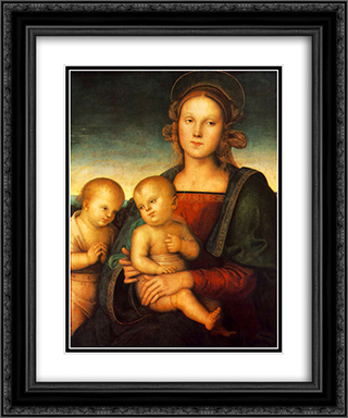 Madonna with Child and Little St John 20x24 Black or Gold Ornate Framed and Double Matted Art Print by Pietro Perugino