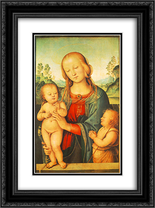 Madonna with Child and Little St John 18x24 Black or Gold Ornate Framed and Double Matted Art Print by Pietro Perugino