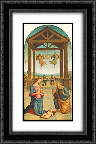 St Augustin Polyptych: The Presepio 16x24 Black or Gold Ornate Framed and Double Matted Art Print by Pietro Perugino