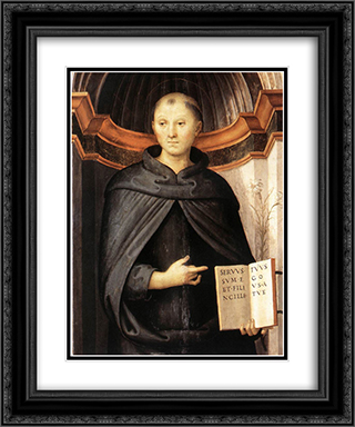 St Nicholas of Tolentino 20x24 Black or Gold Ornate Framed and Double Matted Art Print by Pietro Perugino