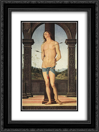 St Sebastian 18x24 Black or Gold Ornate Framed and Double Matted Art Print by Pietro Perugino